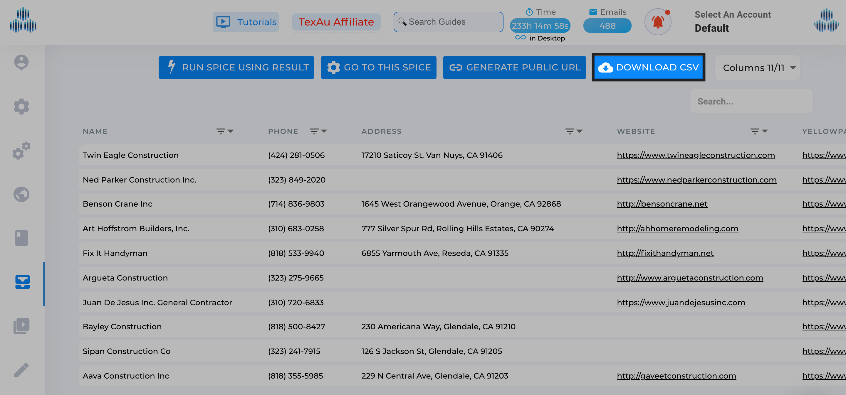Extract search results from Yellow Pages