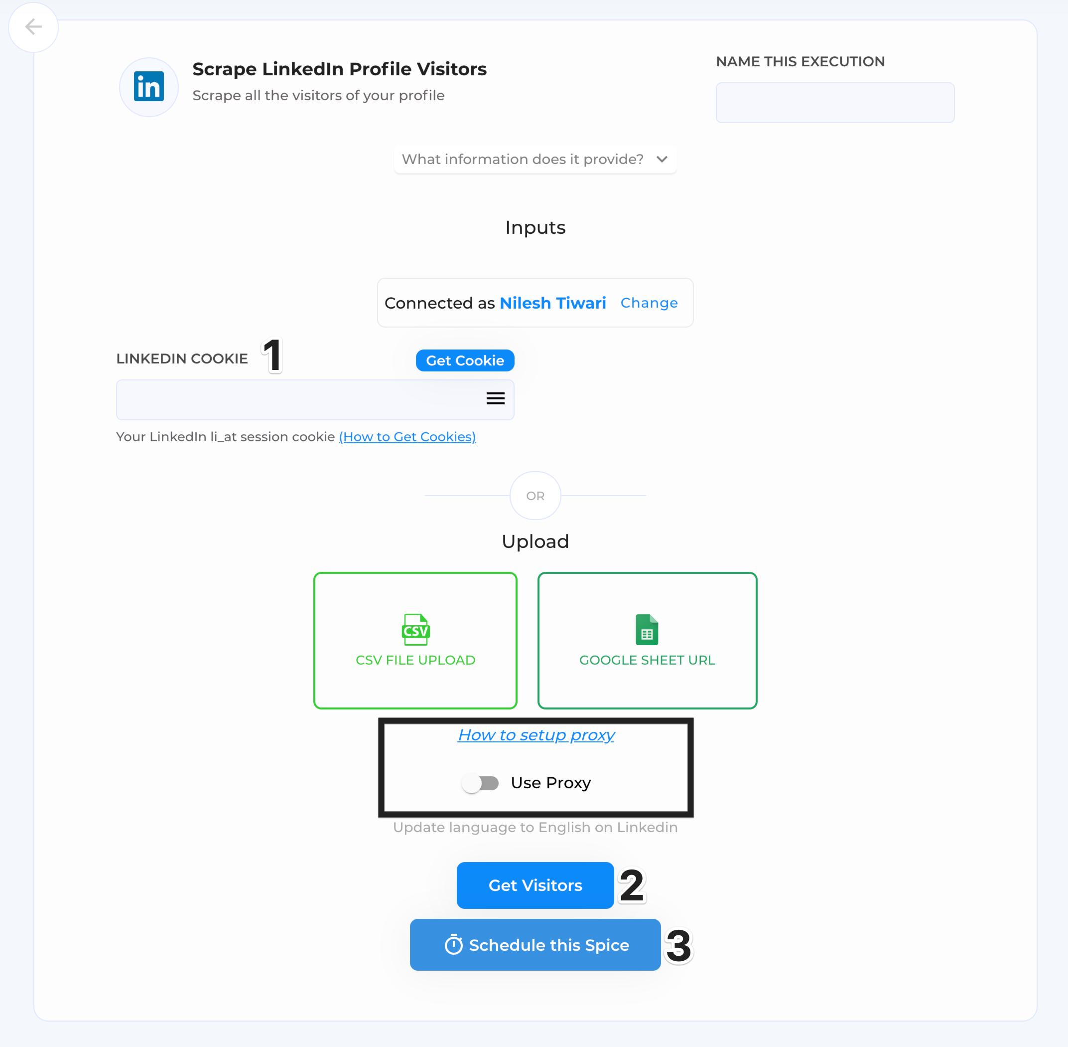get profile visitors execution window